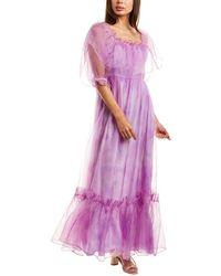 LoveShackFancy Tara Mini Dress - Purple