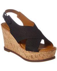 Franco Sarto Mackenzie Leather Wedge Sandal - Black