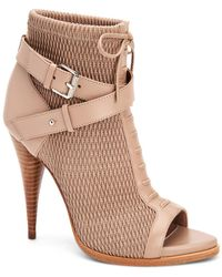 BCBGMAXAZRIA Gia Lace Up Buckle Bootie - Natural