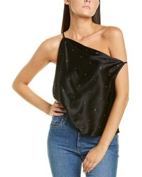 Michelle Mason Crystal Off-shoulder Silk Top - Black