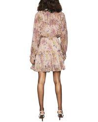 Reiss Cari Printed Ruffle Dress - Pink