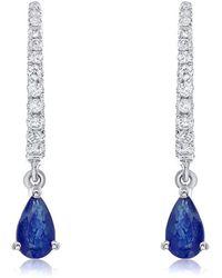 Diana M. Jewels . Fine Jewellery 14k White Gold 0.67 Ct. Tw. Diamond & Sapphire Earrings - Blue