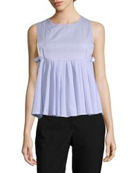 Romeo and Juliet Couture Babydoll Pleat Top - Blue