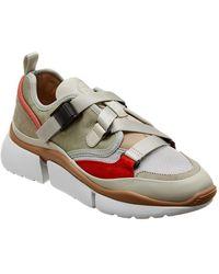 Chloé - Sonnie Suede & Mesh Low-top Sneaker - Lyst