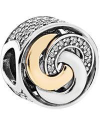 PANDORA 14k & Silver Interlinked Circles Cz Charm - Metallic