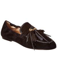 624b8179d67 Lyst - Santoni Soft Suede Tassel Loafer in Black