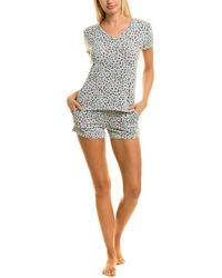 Flora Nikrooz 2pc Loreta Printed Shirt & Short Set - Grey