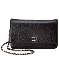 Chanel Black Lambskin Leather Camellia Wallet On Chain