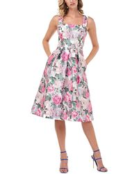 Kay Unger Kylie Tivoli Jacquard Midi Dress - Pink