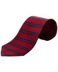 Brooks Brothers Burgundy Horizontal Stripe Silk Tie - Red