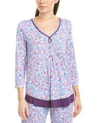 Ellen Tracy Floral Piping-trim Pyjama Top - Purple