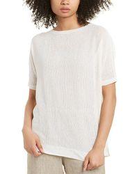 Eileen Fisher Bateau Neck Linen-blend Tunic - White