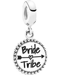 PANDORA Silver & Enamel Bride Tribe Dangle Charm - White
