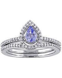 Rina Limor 10k 0.79 Ct. Tw. Diamond & Tanzanite Ring Set - Multicolour