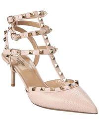Valentino Garavani Rockstud Caged 65 Leather Ankle Strap Pump - Pink