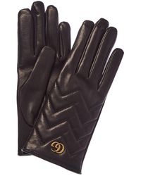 Gucci GG Marmont Chevron Leather Gloves - Brown