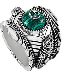 Gucci Garden Silver And Green Resin Ring - Metallic