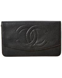 Chanel Green Caviar Leather Single Flap Long Wallet - Black