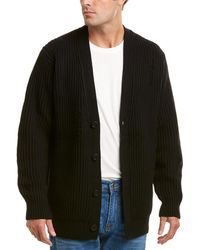 Vince Distressed Wool & Cashmere-blend Ribbed Cardigan - Black