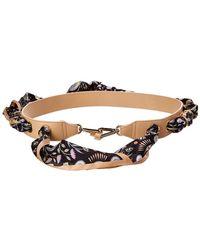 Chloé Silk Scarf & Leather Bag Strap - Brown