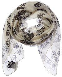 Alexander McQueen Skull Print Silk Scarf - White
