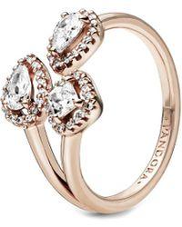 PANDORA Jewellery Rose 14k Rose Gold Plated Geometric Shapes Cz Open Ring - Metallic