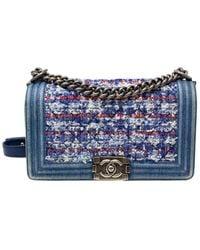 Chanel Limited Edition Denim & Multicolour Tweed Medium Single Flap Boy Bag - Blue