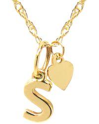 Jane Basch 14k Lowercase Initial & Heart Charm Necklace (a-z) - Metallic