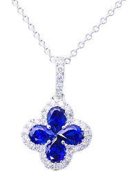 Suzy Levian 18k 2.75 Ct. Tw. Diamond & Blue Sapphire Pendant Necklace