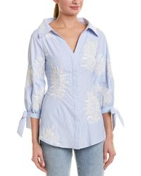 Alice + Olivia Embroidered Blouse - Blue