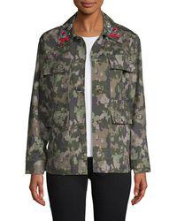 Manoush Embellished Camo Jacket - Multicolor