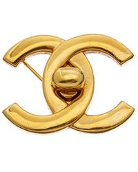 Chanel Gold-tone Large Cc Turnlock Pin - Metallic