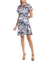 Elie Tahari Yonica Floral - Burnout Dress - Blue
