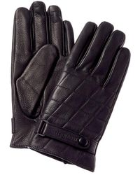 Bruno Magli Logo Cashmere-lined Quilted Leather Gloves - Black