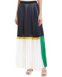 BCBGMAXAZRIA Colorblocked Pleated Chintz Maxi Skirt - Blue