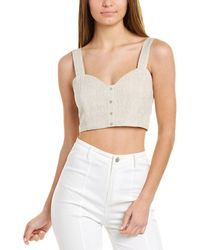Sage the Label City Of Palms Linen Crop Top - Brown