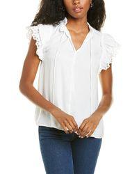 Catherine Malandrino Flutter Sleeve Top - White
