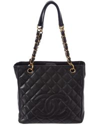 Chanel - Black Quilted Caviar Leather Petite Shopping Tote - Lyst