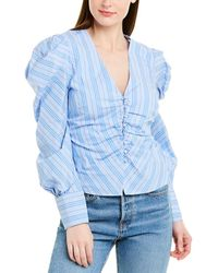 Jonathan Simkhai Oxford Ruched Front Shirt - Blue