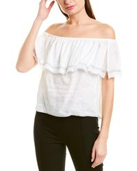 1.STATE Ruffled Off-the-shoulder Linen Top - White