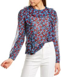 Robert Rodriguez Juliette Silk-blend Top - Blue