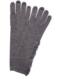 Forte Cashmere Ruffle Glove - Grey