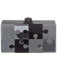 Edie Parker Jean Puzzled Acrylic Clutch - Black