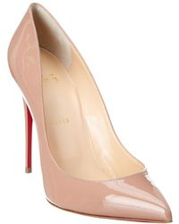 13d1293097bc Lyst - Christian Louboutin Pigalle Follies 100 Beige Patent Leather ...