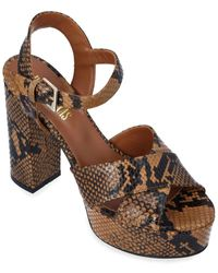 Paris Texas Snake-embossed Leather Platform Sandal - Brown