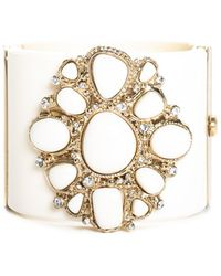 Chanel Gold-tone Resin & Crystal Cuff Bracelet - Metallic