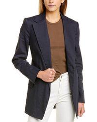 Theory Belted Linen-blend Blazer - Blue