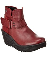 Fly London Yock Leather Wedge Bootie - Red