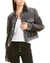 Amiri Leather Panel Short Trucker Jacket - Black