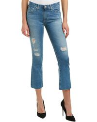 AG Jeans The Jodi 12 Years Canyon Destroyed High-rise Slim Flare Crop - Blue